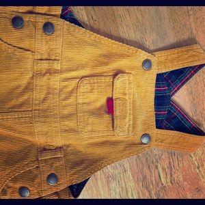 JoJo Maman Bebe golden yellow corduroy overalls